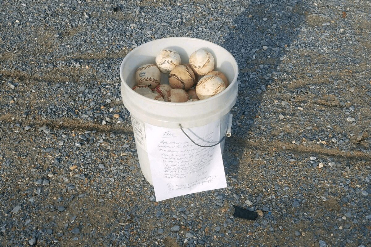 Grandpa's emotional note on a bucket of old baseballs touches the hearts of thousands around the world