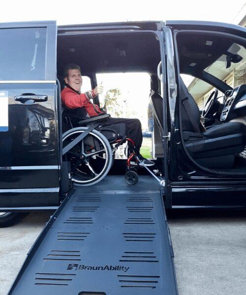 Jake Stitt celebrating his new van.