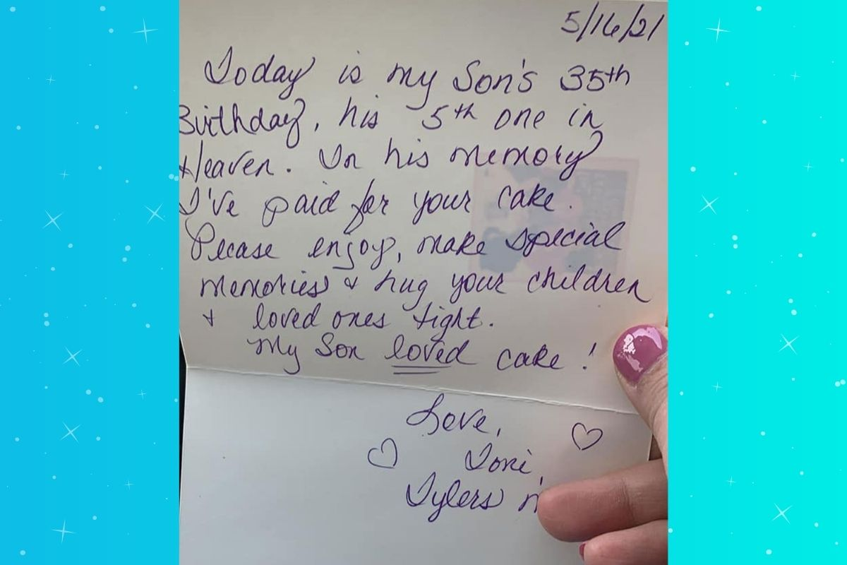 Woman pays for stranger's cake in honor of her late son's 35th birthday