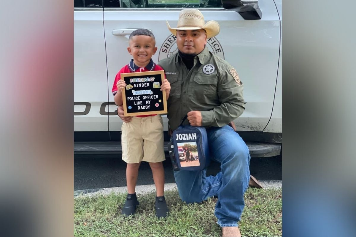 Police escort little boy to first day of school after his dad died in a car accident last April