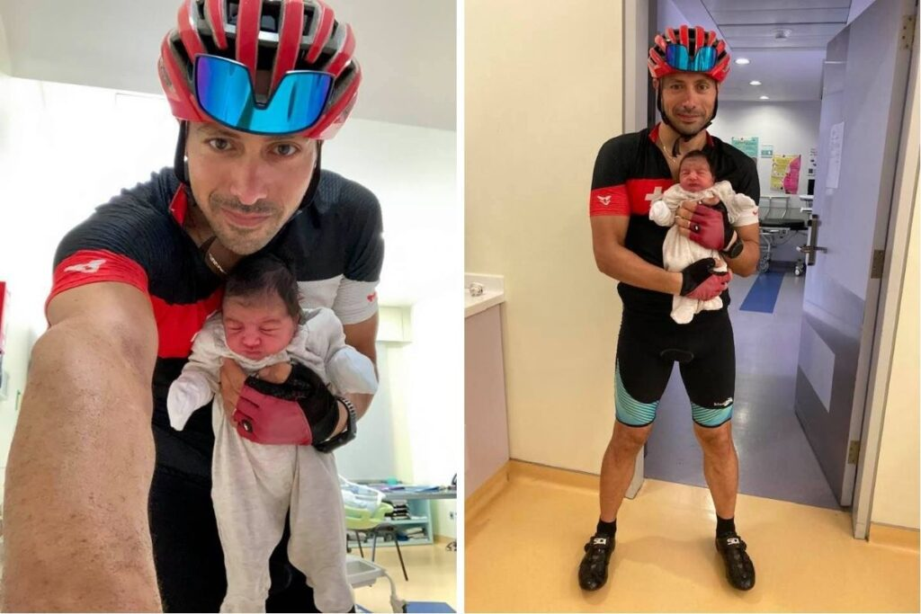 Lebanese doctor rides his bike 8 miles to deliver a newborn baby after running out of gas.