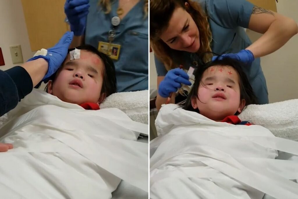 Blind 8-year-old girl, Evie, sings to overcome her fear of medical tests.